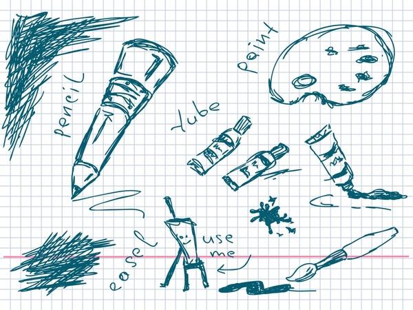 painting work design elements handdrawn sketch