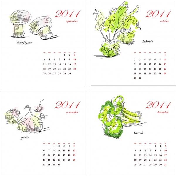 2011 calendar templates vegetables themes handdrawn sketch