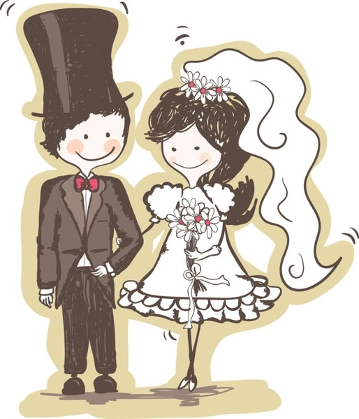 handpainted version of the bride and groom 04 vector