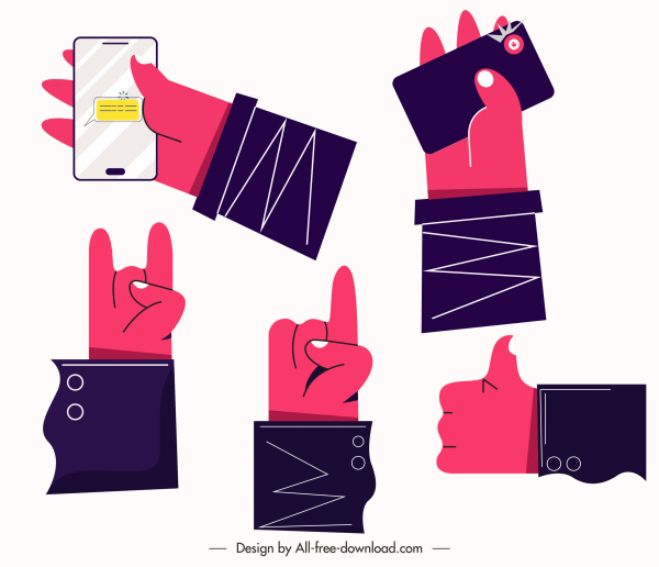 hands gestures icons colored flat sketch