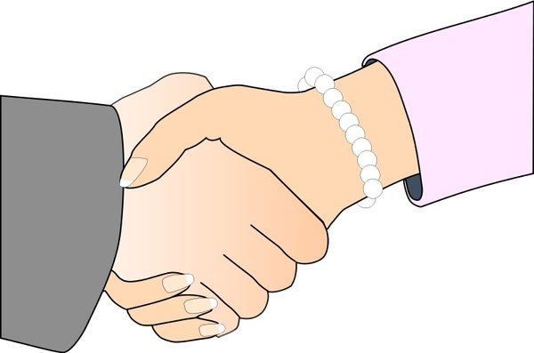 Handshake with Black Outline (white man and woman, freshwater pearl bracelet)