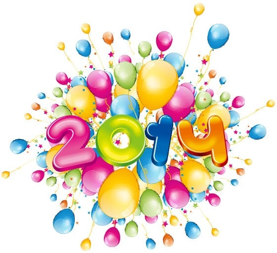 happy14 new year with colorful balloons vector illustration