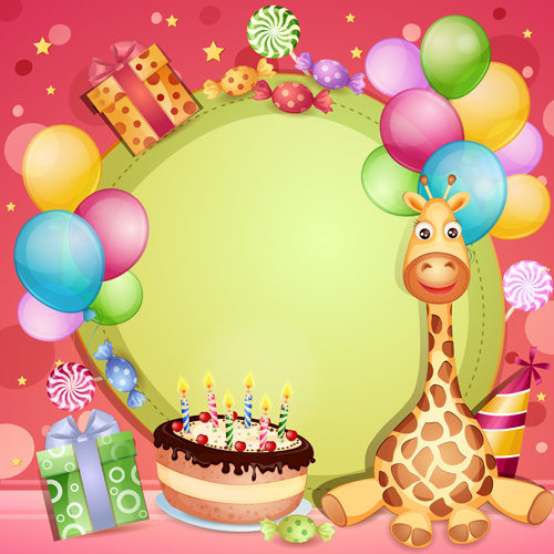 Happy Birthday Baby Cards Cute Design Vector Free 395MB