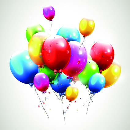 Happy Birthday Balloons Of Greeting Card Vector Free 468MB