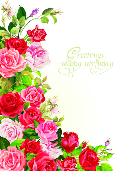 Happy Birthday Flowers Greeting Cards Free Vector 94841KB