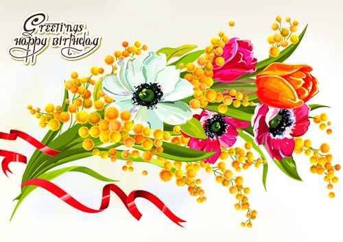 Happy Birthday Flowers Greeting Cards Free Vector In Encapsulated