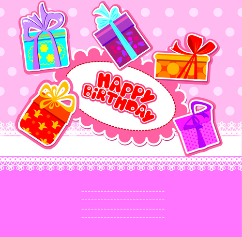 happy birthday gift cards design vector - Happy Birthday Gift Card