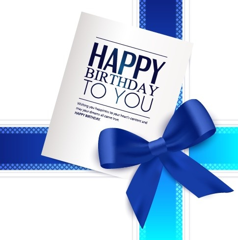 Happy Birthday Greeting Card With Bow Vector Free Vector In