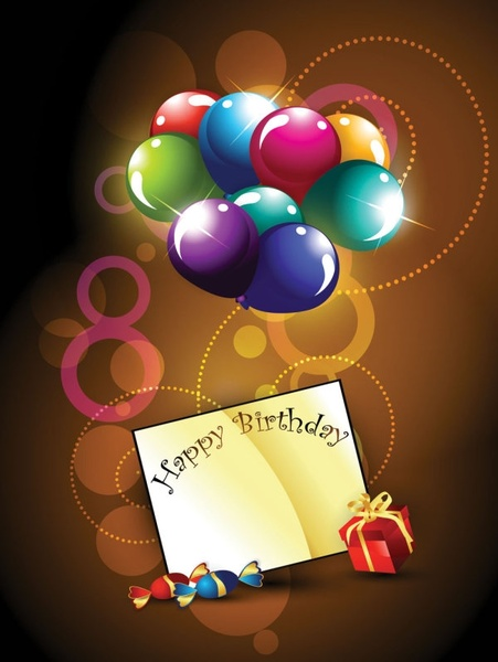 happy birthday postcard 01 vector