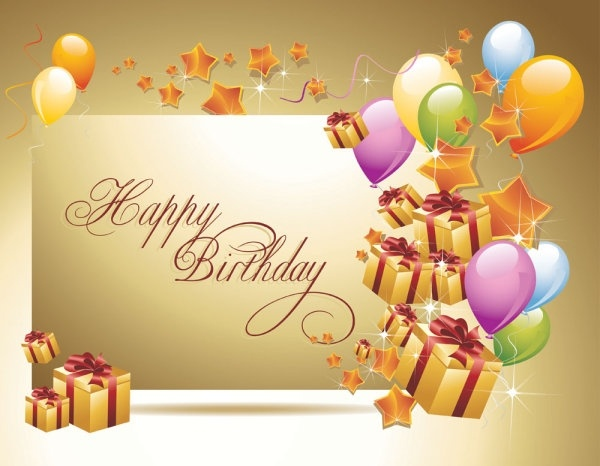 Happy Birthday Postcard 02 Vector Free Vector In Encapsulated