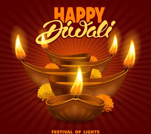 happy diwali ethnic styles background vectors
