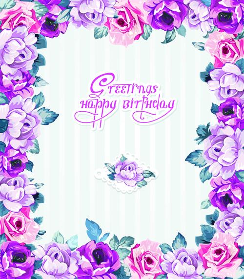 happy easter flower frame background vector