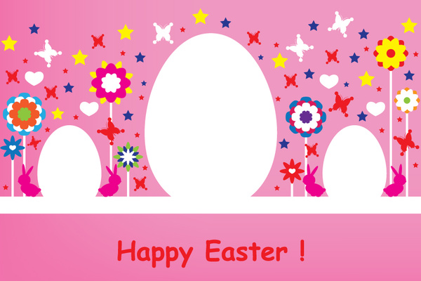 happy easter pink card design
