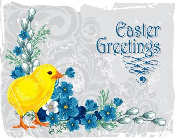 easter card template chick flora decor classic design