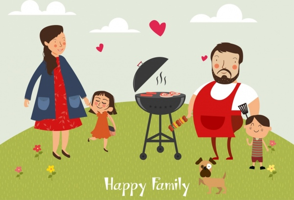 happy family background barbecue icon colored cartoon characters