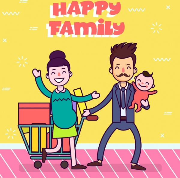 Happy Family Banner Father Pregnant Mother Child Icons Free Vector In Adobe Illustrator Ai Ai Format Encapsulated Postscript Eps Eps Format Format For Free Download 1 67mb