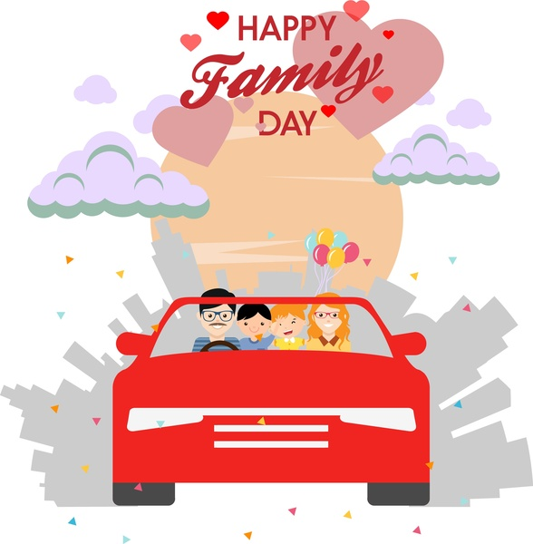 happy family day theme human in car design