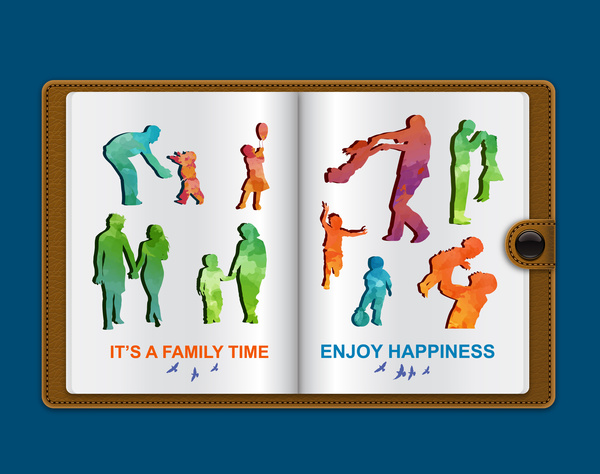 happy family silhouettes vector illustration on notebook