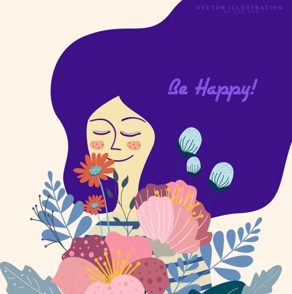 happy greeting card template woman flowers icons decor
