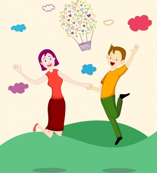 happy love couple background human hearts balloon icons