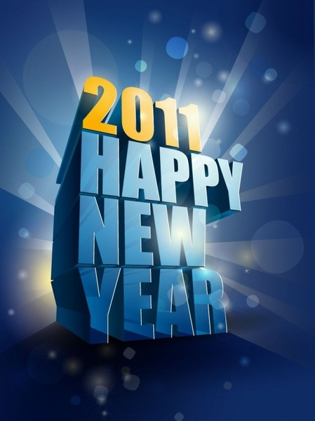Happy New Year 2011 3D Vector