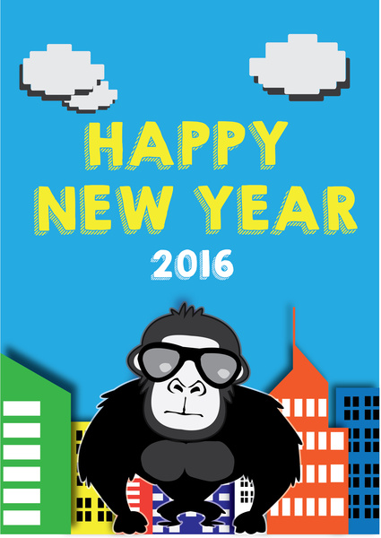 happy new year 2016 console game style