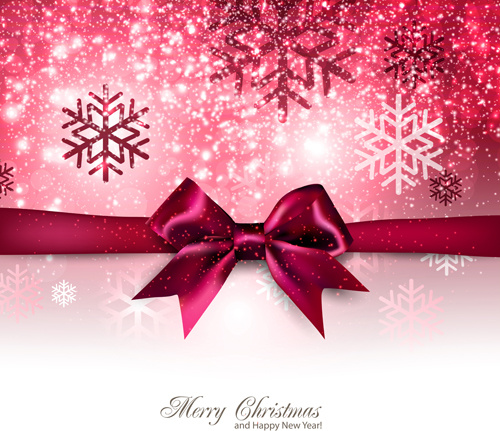 happy new year and christmas bow gift card