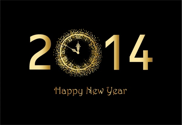 happy new year background with gold clock