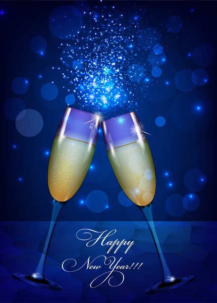 happy new year background with wine glass