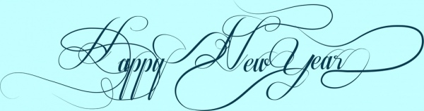 happy new year decoration text calligraphic curves style