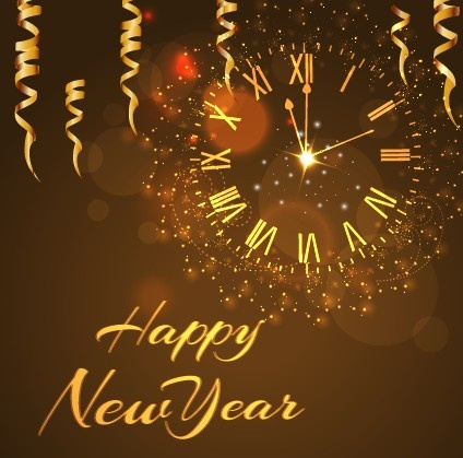happy new year golden elements background vector