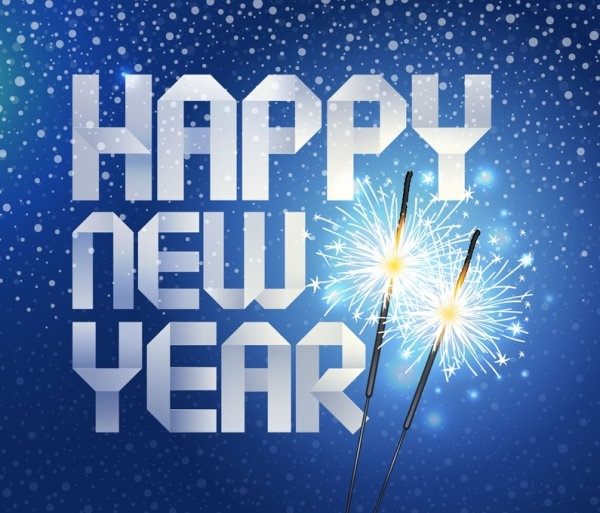 happy new year origami background vector