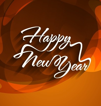 happy new year text with holiday background vector