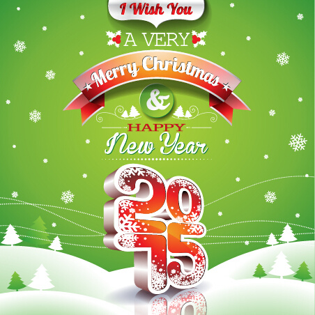 happy new year with15 christmas green background