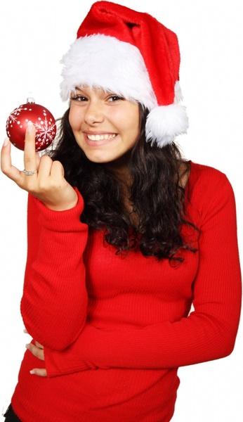 happy santa with bauble