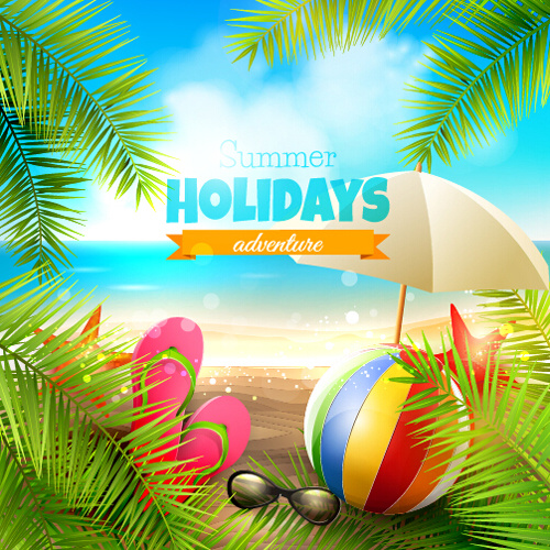happy summer holiday background vectors
