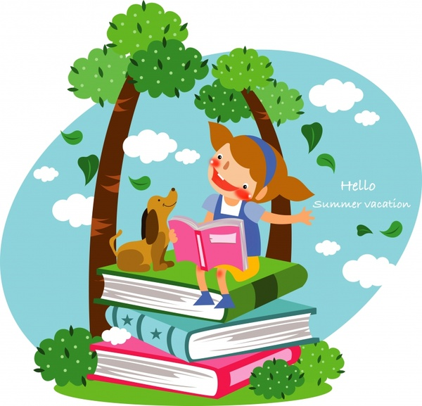 childhood background studying girl book stack icons decor