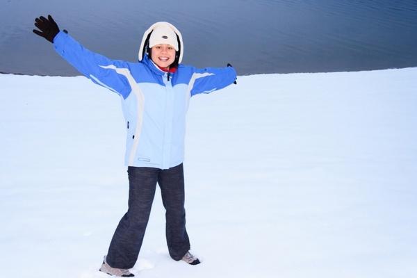 happy woman in winter