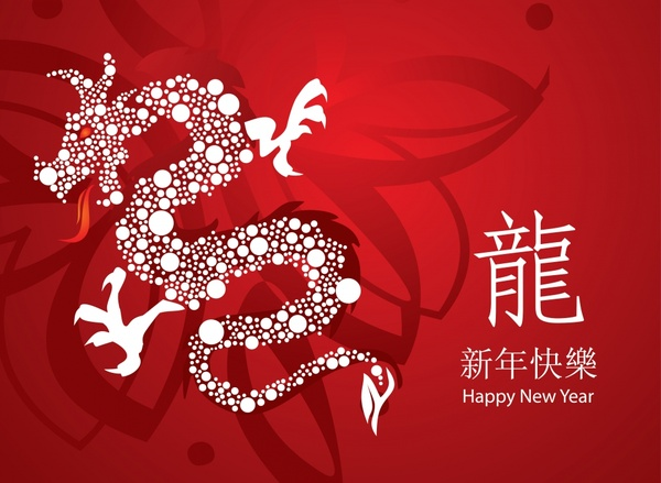chinese new year banner red decor dragon sketch