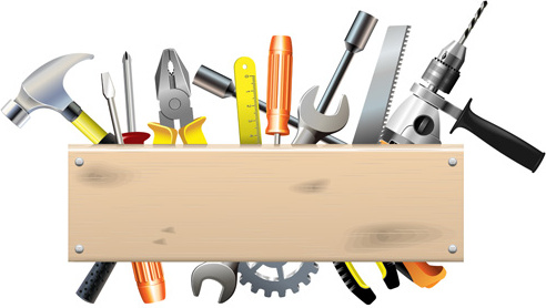hardware tools with wood boards background vector