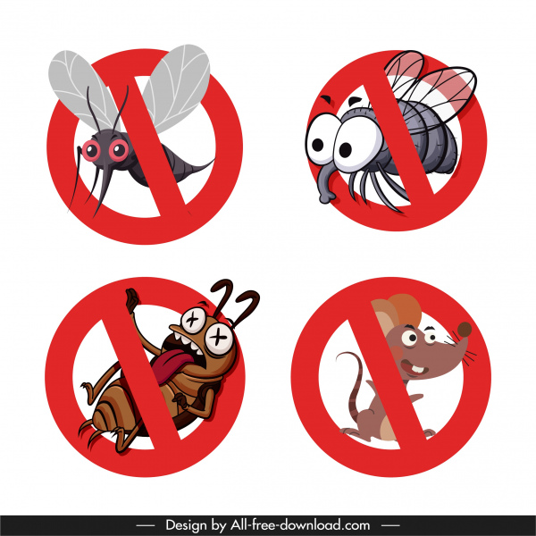 harmful animals sign templates cartoon sketch