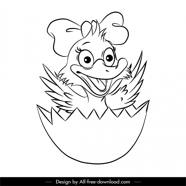 hatched duck icon funny black white cartoon sketch
