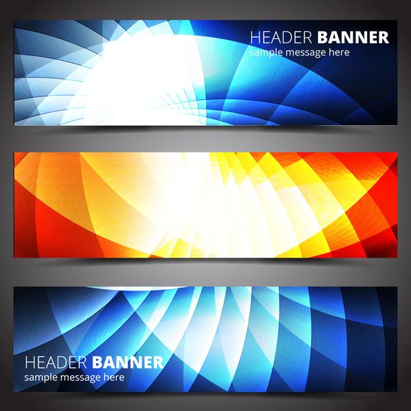 header banner design sets on light effect background
