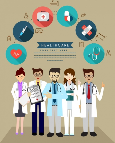healthcare banner doctor medical tools icons