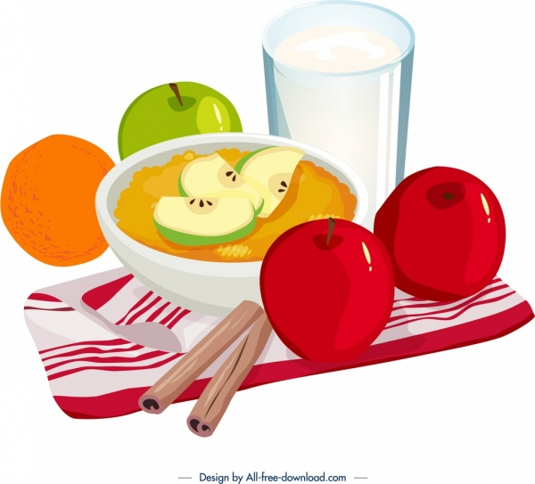 healthy breakfast icon fruits decor colorful 3d design