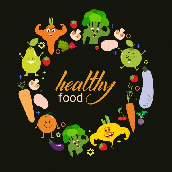 healthy food advertisement stylized vegetable icons circle layout