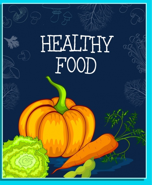 healthy food banner pumpkin carrot icons vignette backdrop