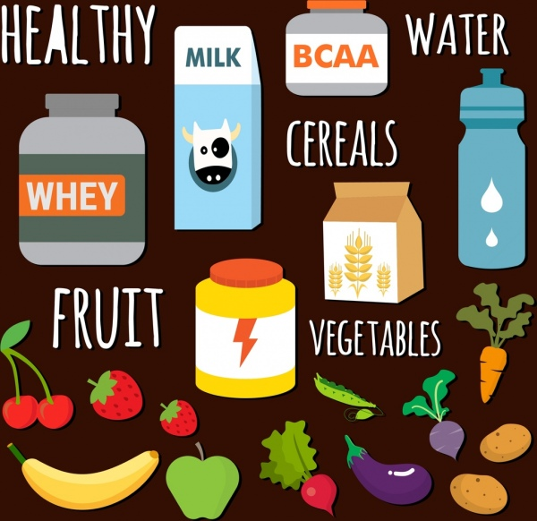 healthy food icons collection various multicolored objects