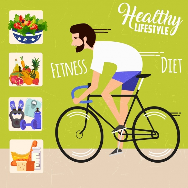 healthy life banner cyclist fresh food dumbbel icons