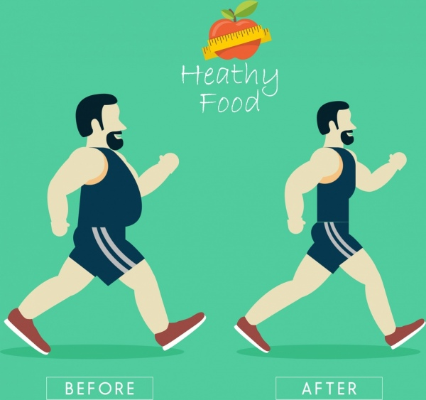 healthy life banner man exercise food icons